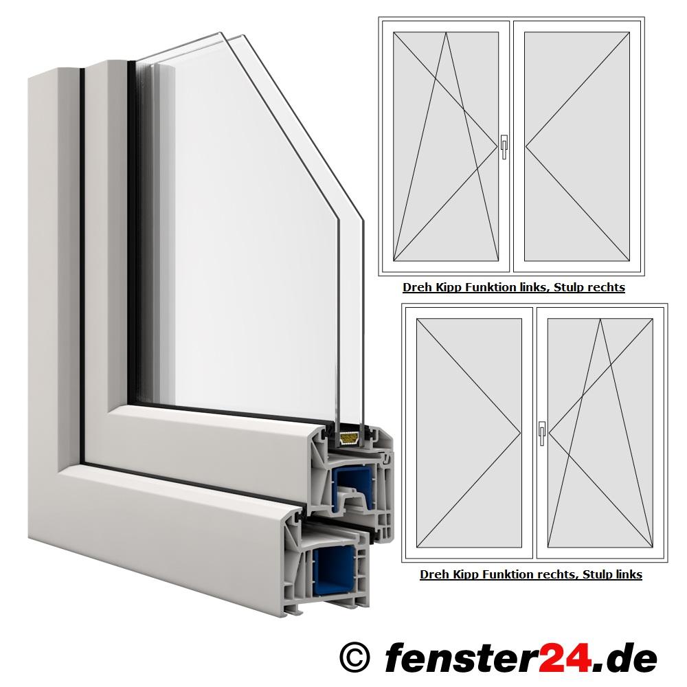 Zweiflügelige KBE Terrassentür Breite 1400mm x auswählbare Höhe in
