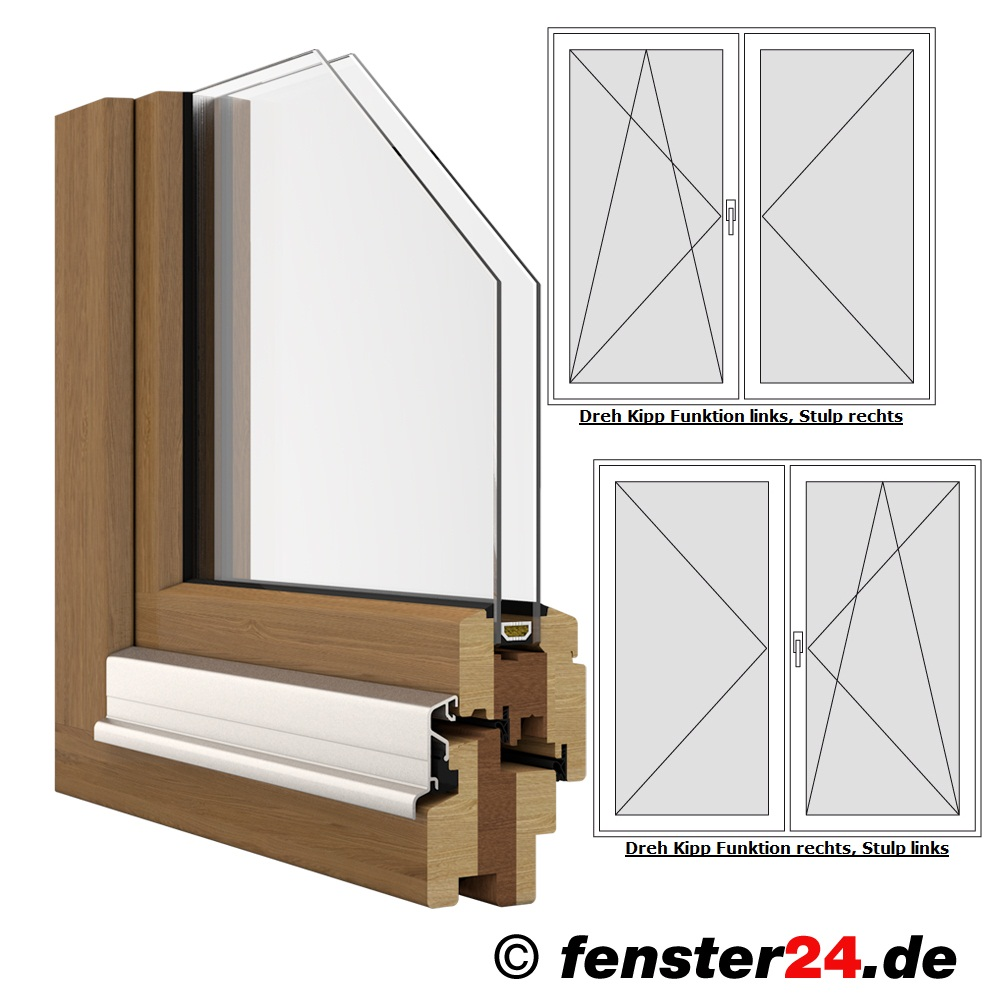 Iv68 Holz Terrassentür 2 Flügelig Breite 1510mm X Wählbare Höhe