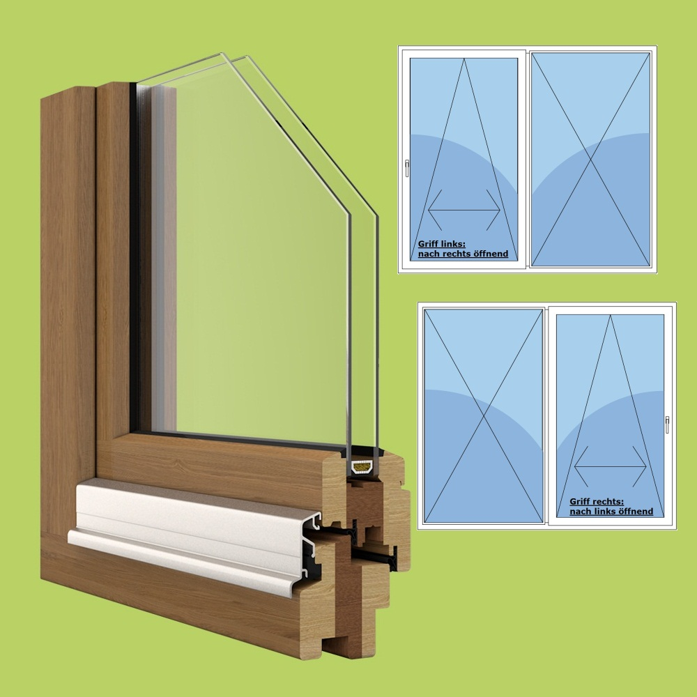Holz parallel schiebe kipp t r breite 2385mm x w hlbare for Fenster 2fach oder 3fach verglasung