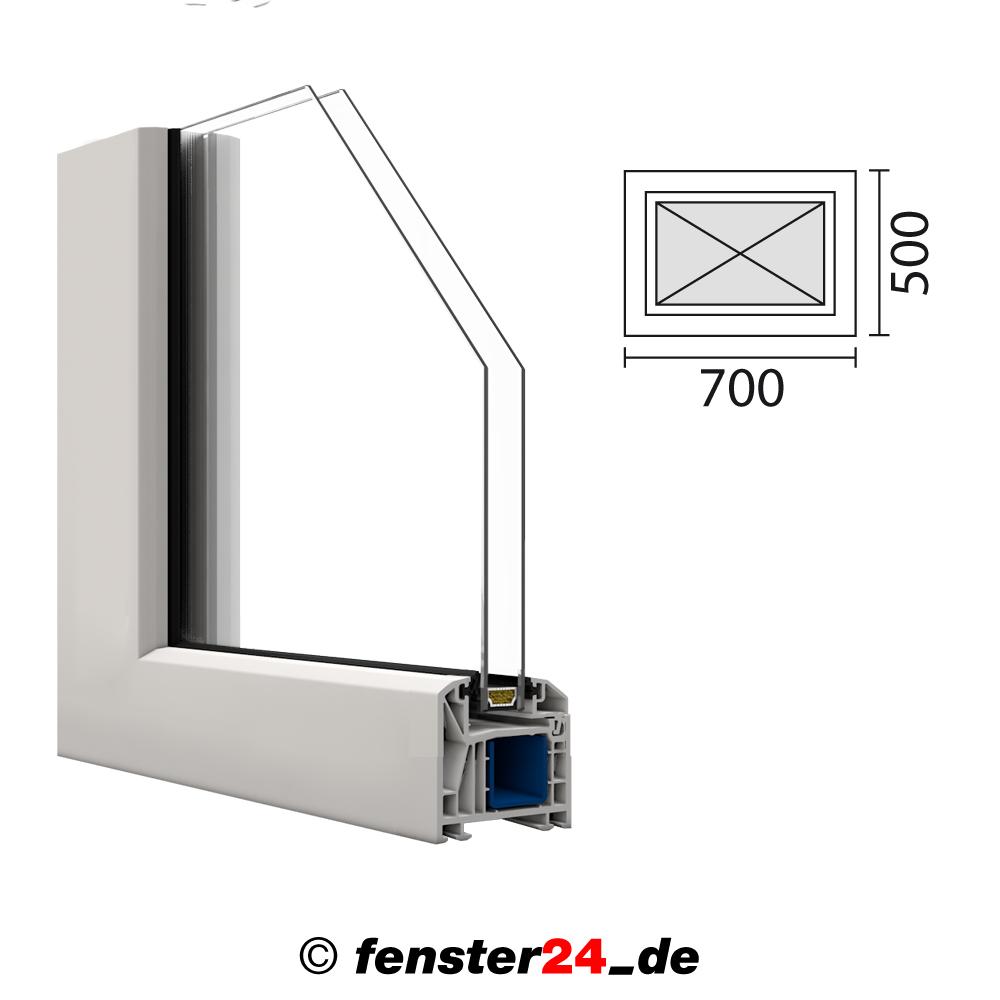 Kunststoff fenster kbe 70x50cm festverglasung mit glasleisten for Kunststofffenster shop