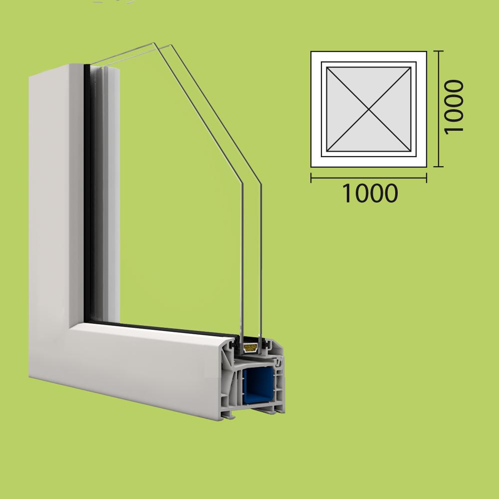 kunststoff fenster kbe 100x100 cm festverglasung mit. Black Bedroom Furniture Sets. Home Design Ideas