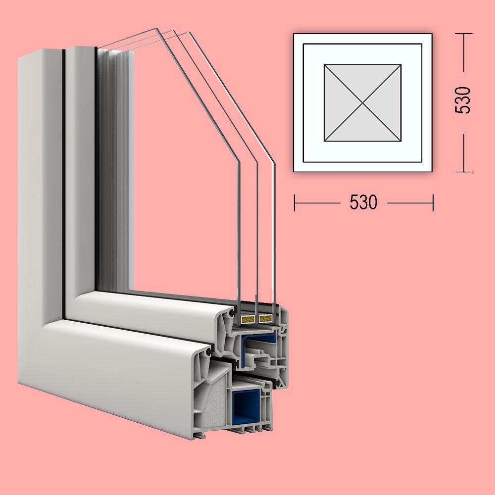 Passivhaus fenster veka alphaline 90 53x53cm festverglast for Fenster 80 x 90