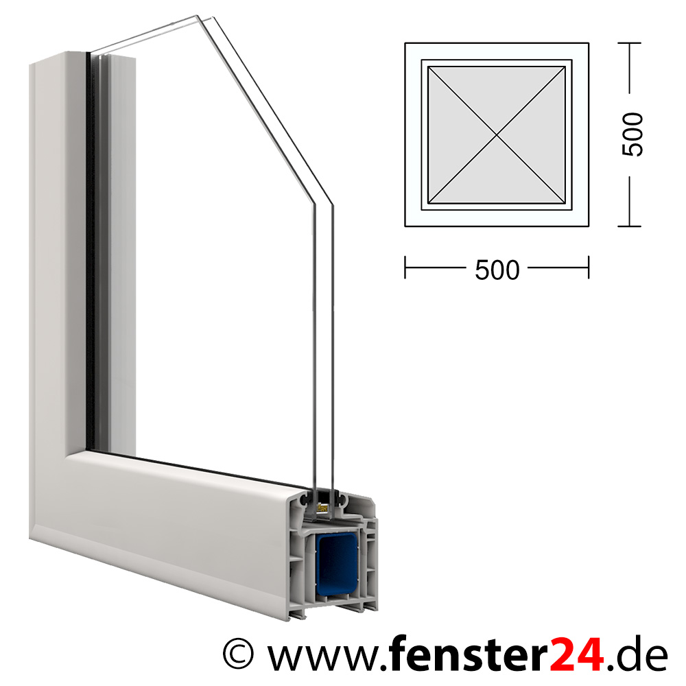 kunststoff fenster veka 50 x 50 cm festverglast im rahmen. Black Bedroom Furniture Sets. Home Design Ideas