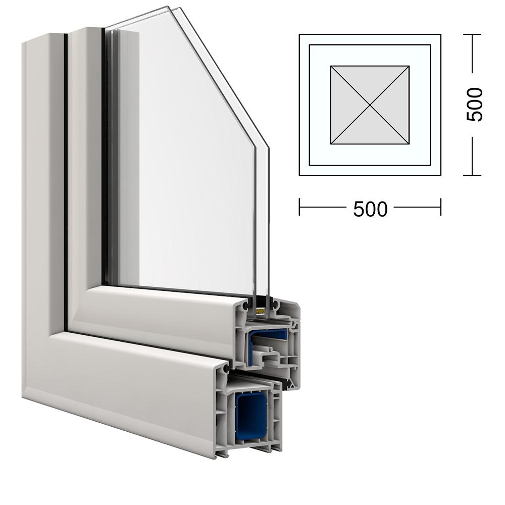kunststoff fenster kbe 50x50cm festverglast im fl gel. Black Bedroom Furniture Sets. Home Design Ideas