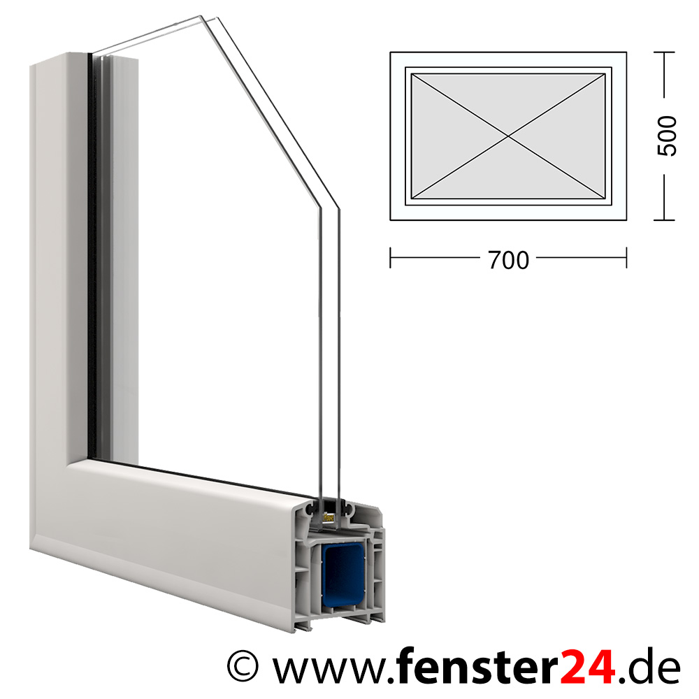 kunststoff fenster veka 70 x 50 cm festverglast mit glasleisten. Black Bedroom Furniture Sets. Home Design Ideas