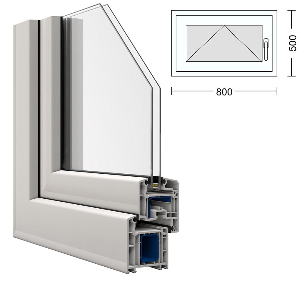 kunststoff fenster kbe 80x50cm kipp griff rechts. Black Bedroom Furniture Sets. Home Design Ideas
