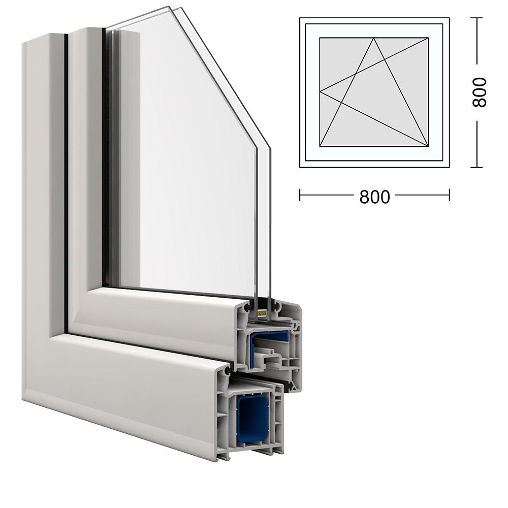 kunststoff fenster kbe 80x80cm dreh kipp rechts. Black Bedroom Furniture Sets. Home Design Ideas