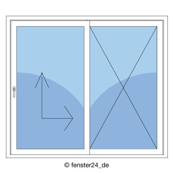Kunststoff hebe schiebe t r in anthrazit wei 2fach for Fenster shop 24