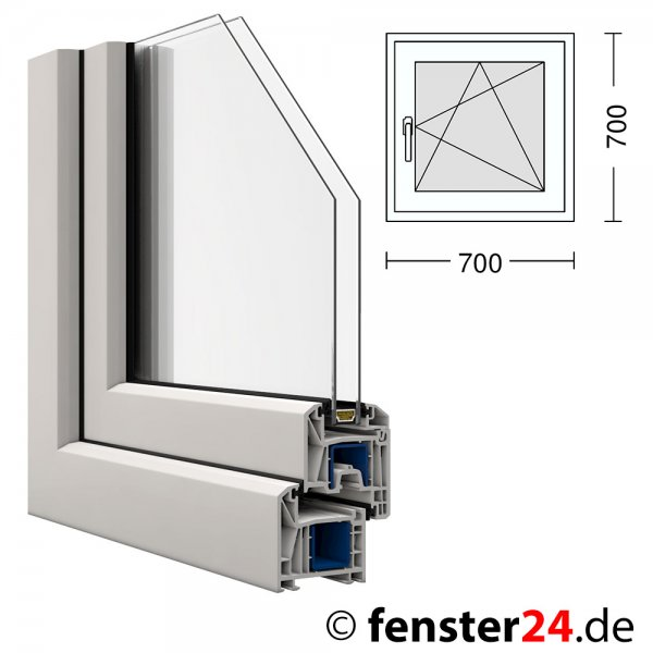 kunststoff fenster kbe 70x70cm dreh kipp rechts ebay. Black Bedroom Furniture Sets. Home Design Ideas