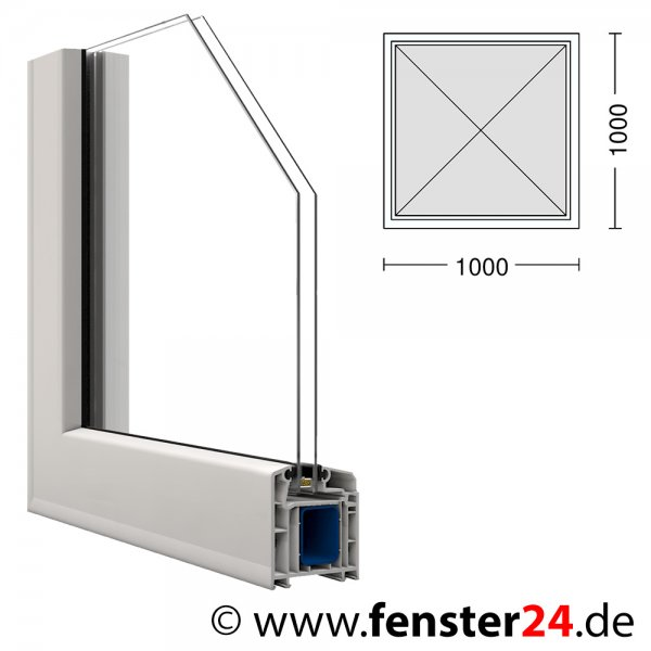 kunststoff fenster veka 100 x 100 cm festverglast mit. Black Bedroom Furniture Sets. Home Design Ideas